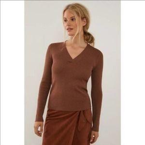 Anthropolgie Maeve Thea V-Neck Sweater Medium NWT